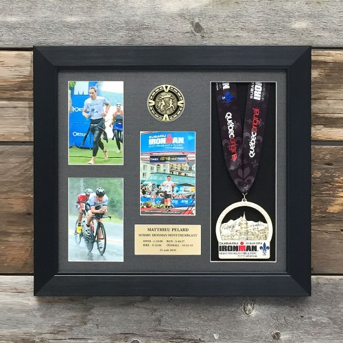 Triathlon pictures and medal frame